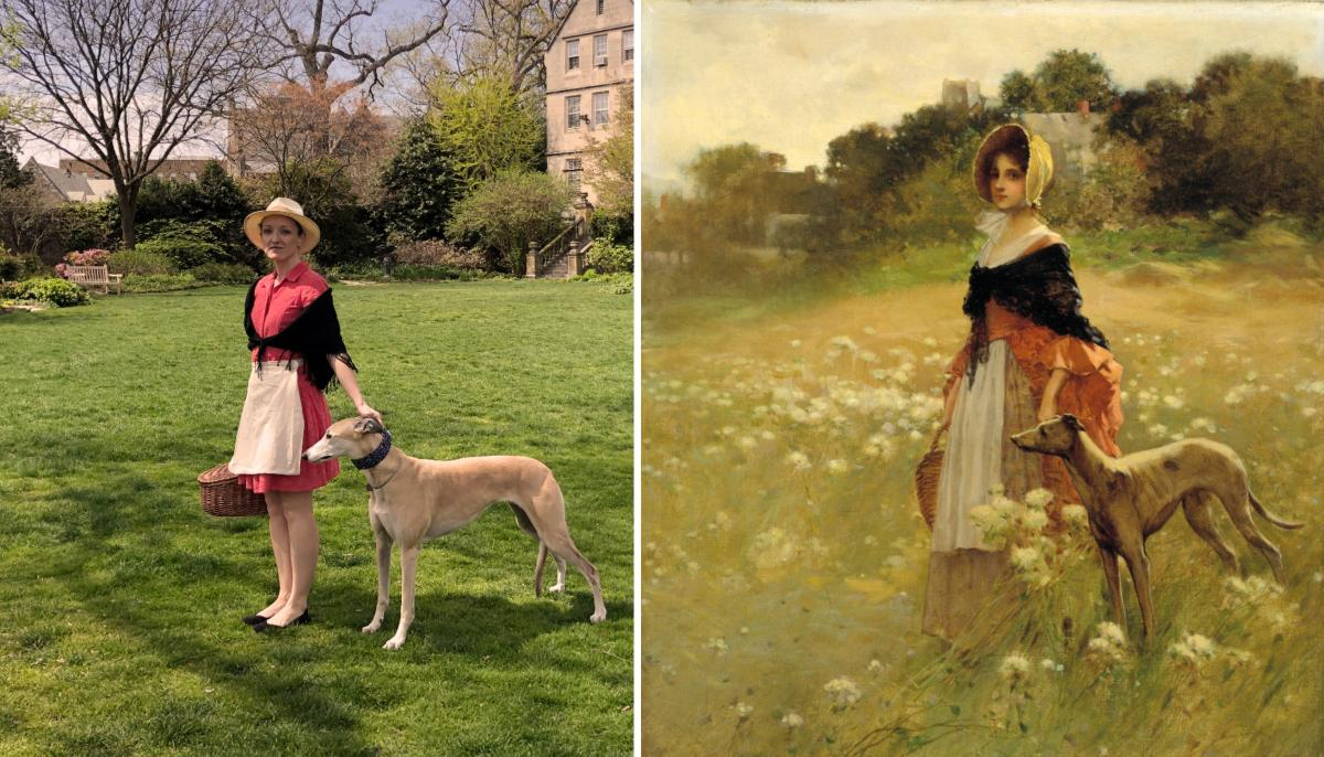 A recreation of a painting by Percy Moran of a girl standing in a field with her greyhound.