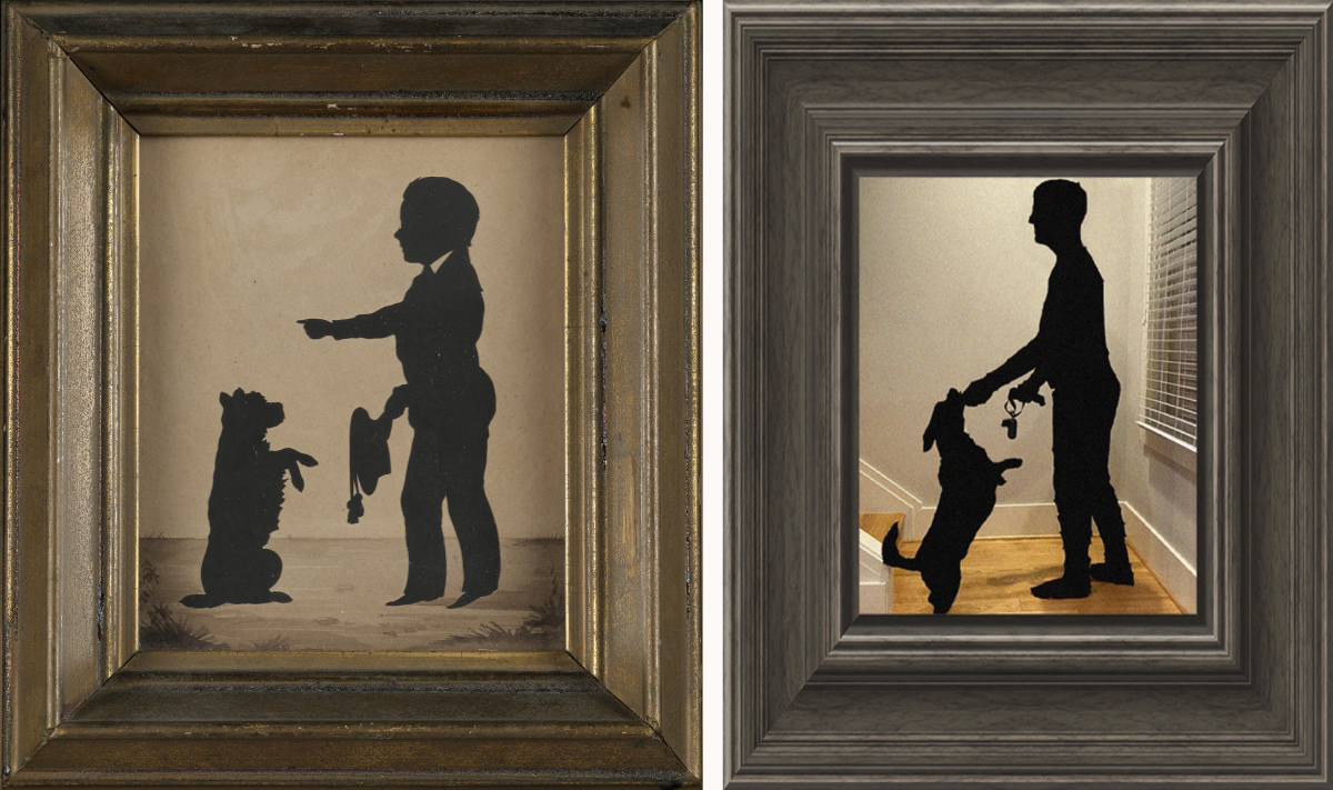 A recreation of an artwork with a man and dog in silhouette