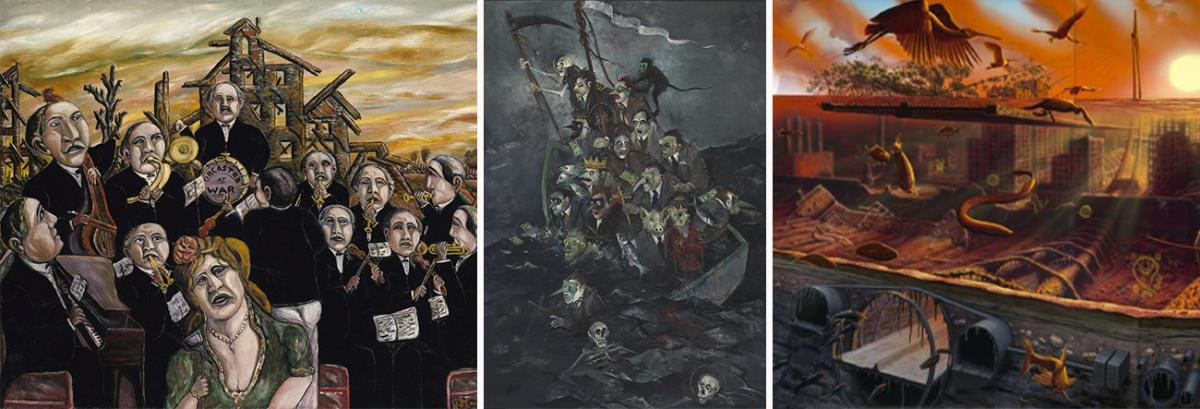 A collage of three paintings.