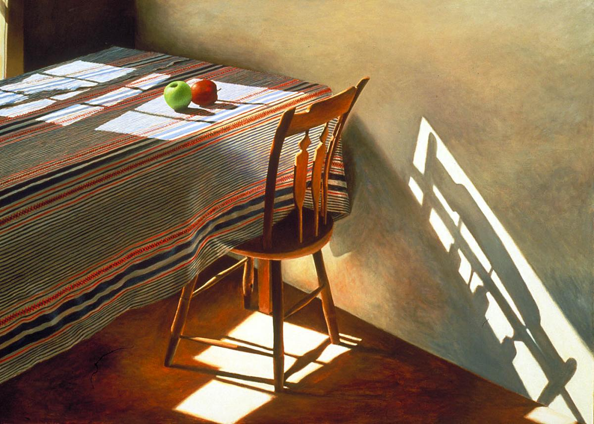 An oil painting of a table with two apples on it.