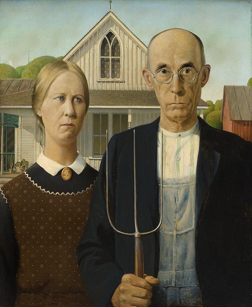 An image of a woman and a man with a house behind them. The man is holding a rake.