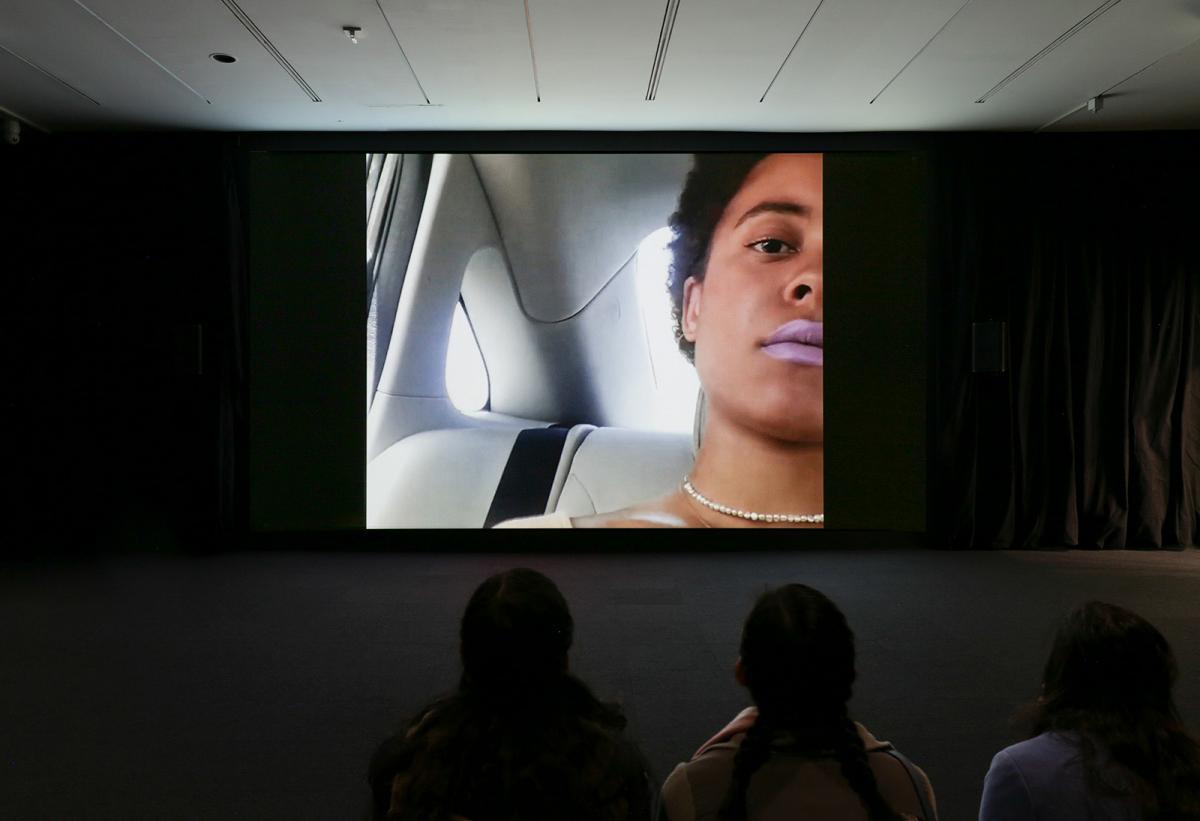 A still photo of a video screen.