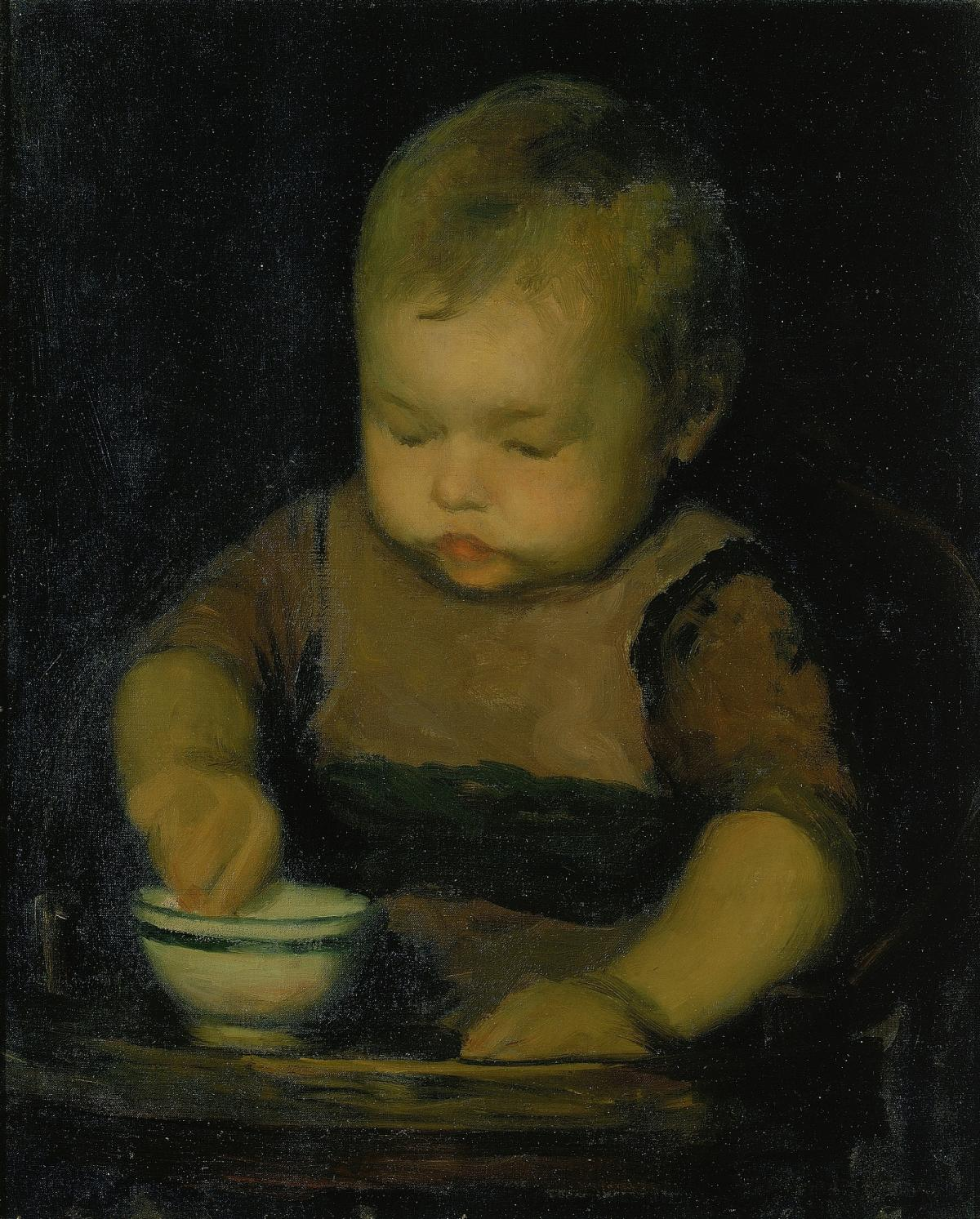 An oil painting of a baby with his hand in a bowl.