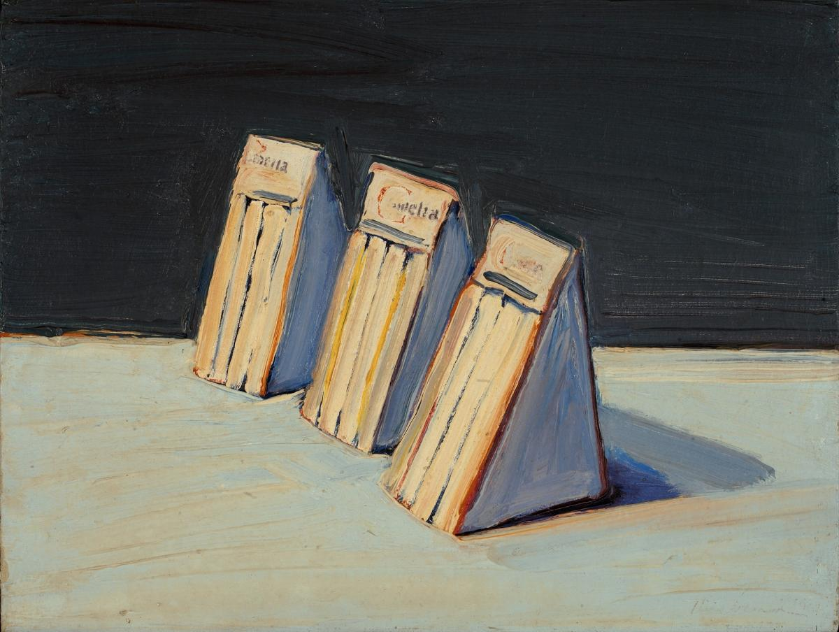 An oil painting of three sandwiches by Wayne Thiebaud.