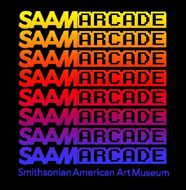 SAAM Arcade logo in rainbow colors