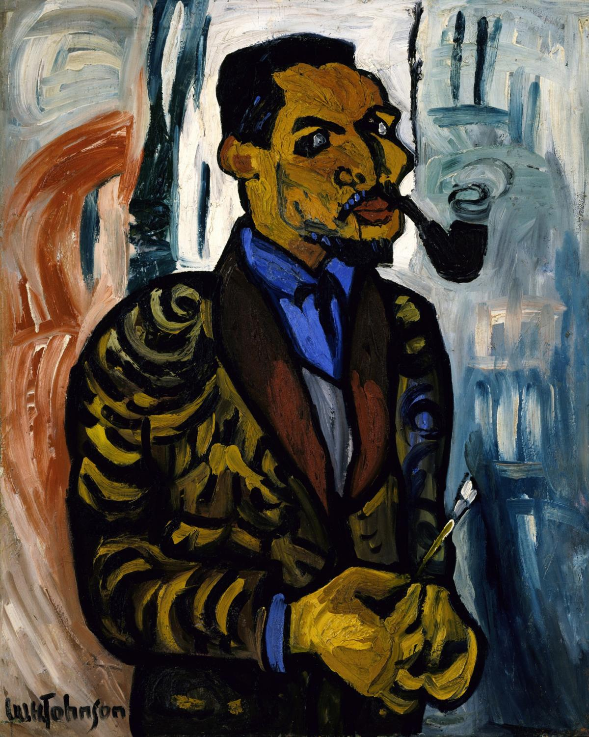 Self-portrait of artist William H Johnson with pipe in mouth and brush in hand.