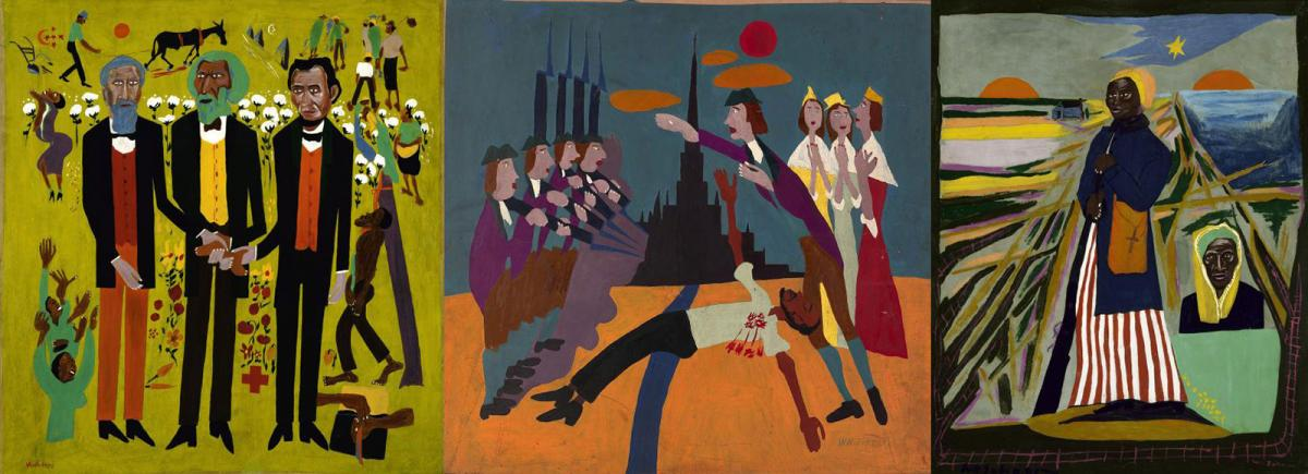 Three side-by-side paintings of William H. Johnson's Fighters for Freedom series