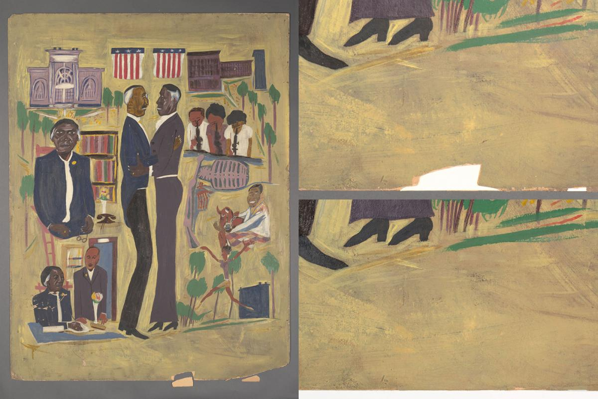 Compilation of views of William H. Johnson's painting including details of conservation fill.