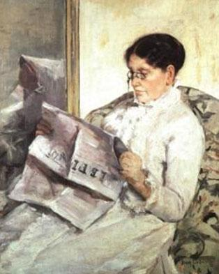 A painting of a woman sitting down and reading 'Le Figaro'