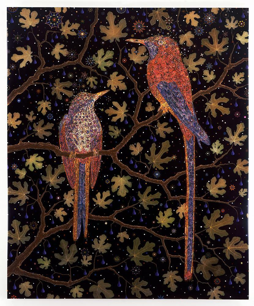 An artwork with two birds