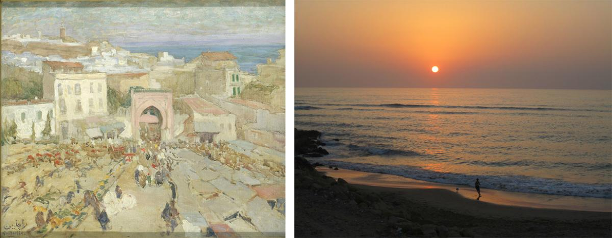 A painting of Tangier and a photograph of Asilah, Morocco