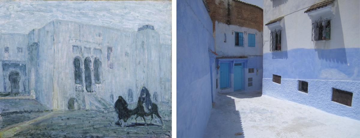 A painting of tangier and a photograph of Chefchaouen, morocco