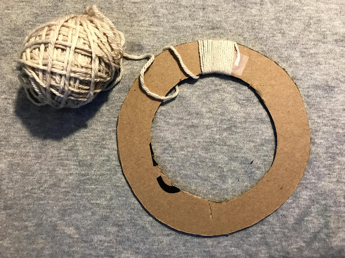 A photograph of the process of making a wreath.