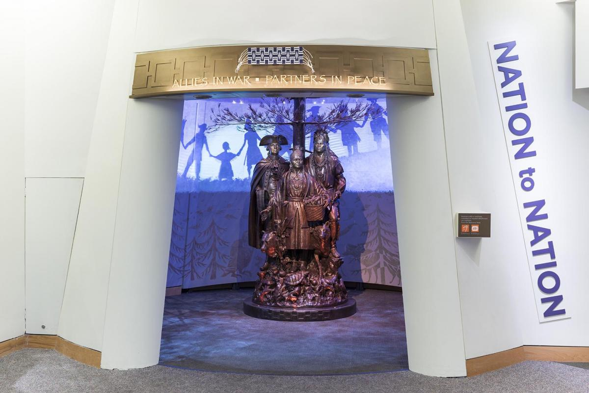 A photograph of the inside of a museum with a statue in the middle