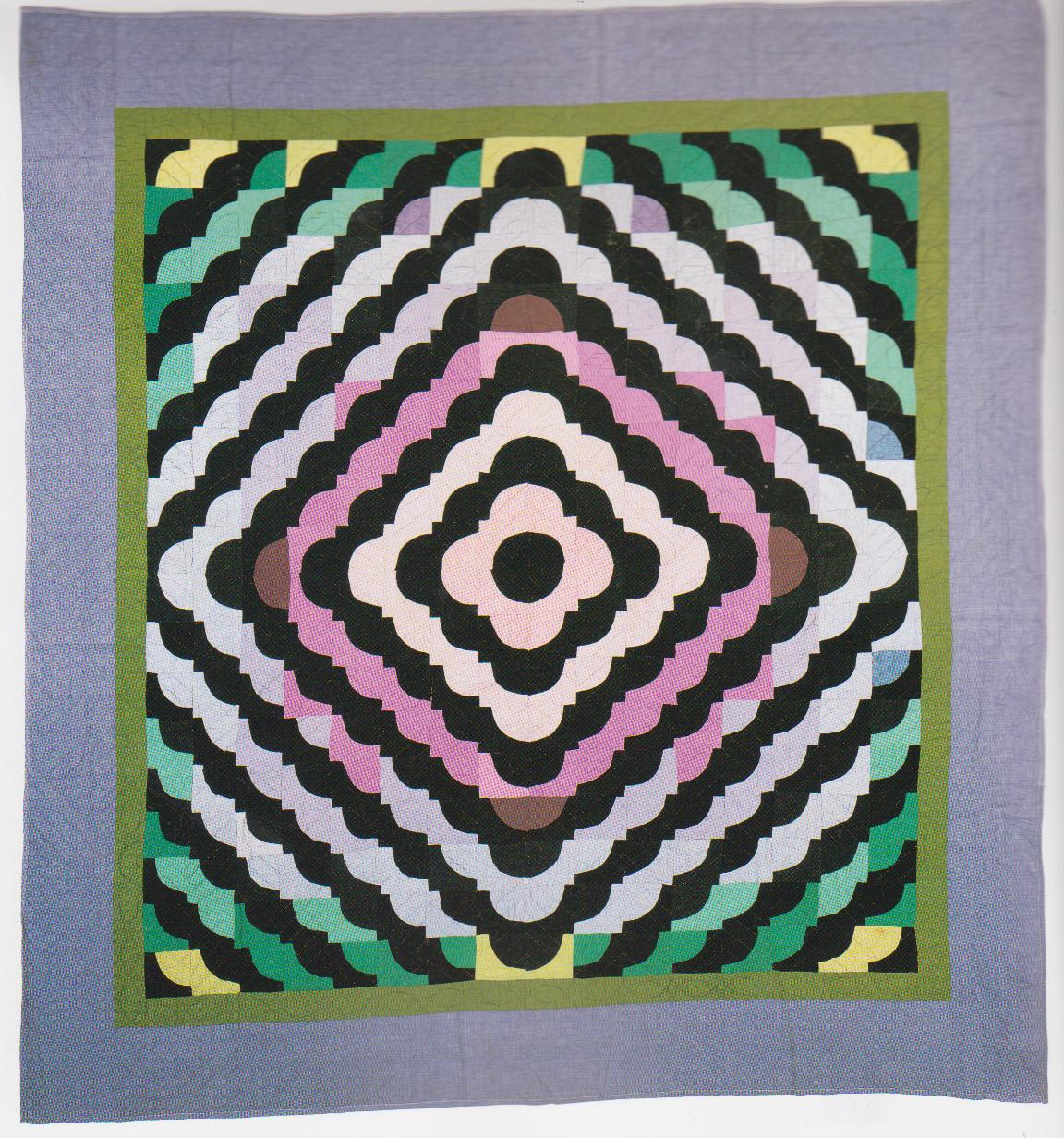 Old Maid's Puzzle quilt in pink, white, and green