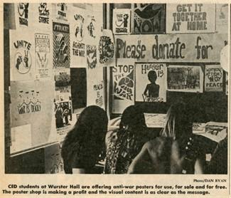 Newspaper clipping of students in front of a wall of printed anti-war posters.