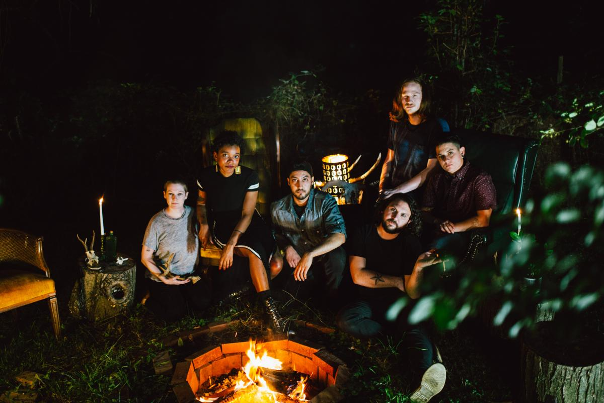 Photograph of the six musicians in the band, Lightmare.