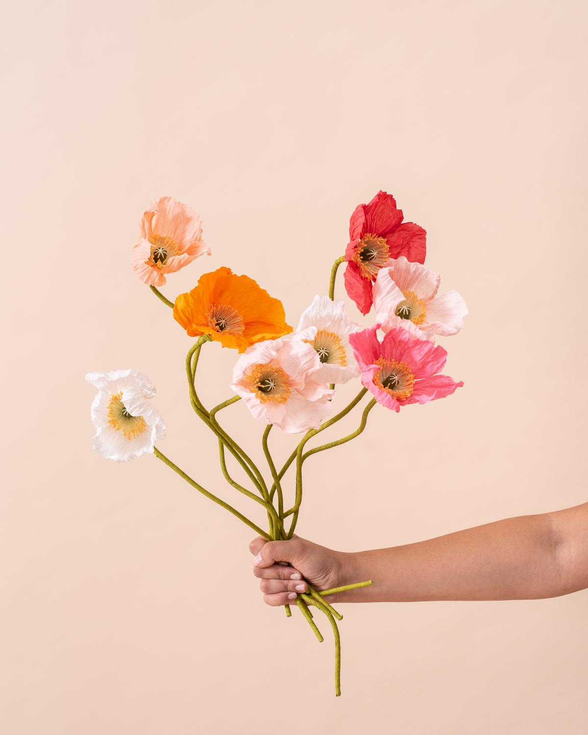 Photo of Paper flowers held by hand.