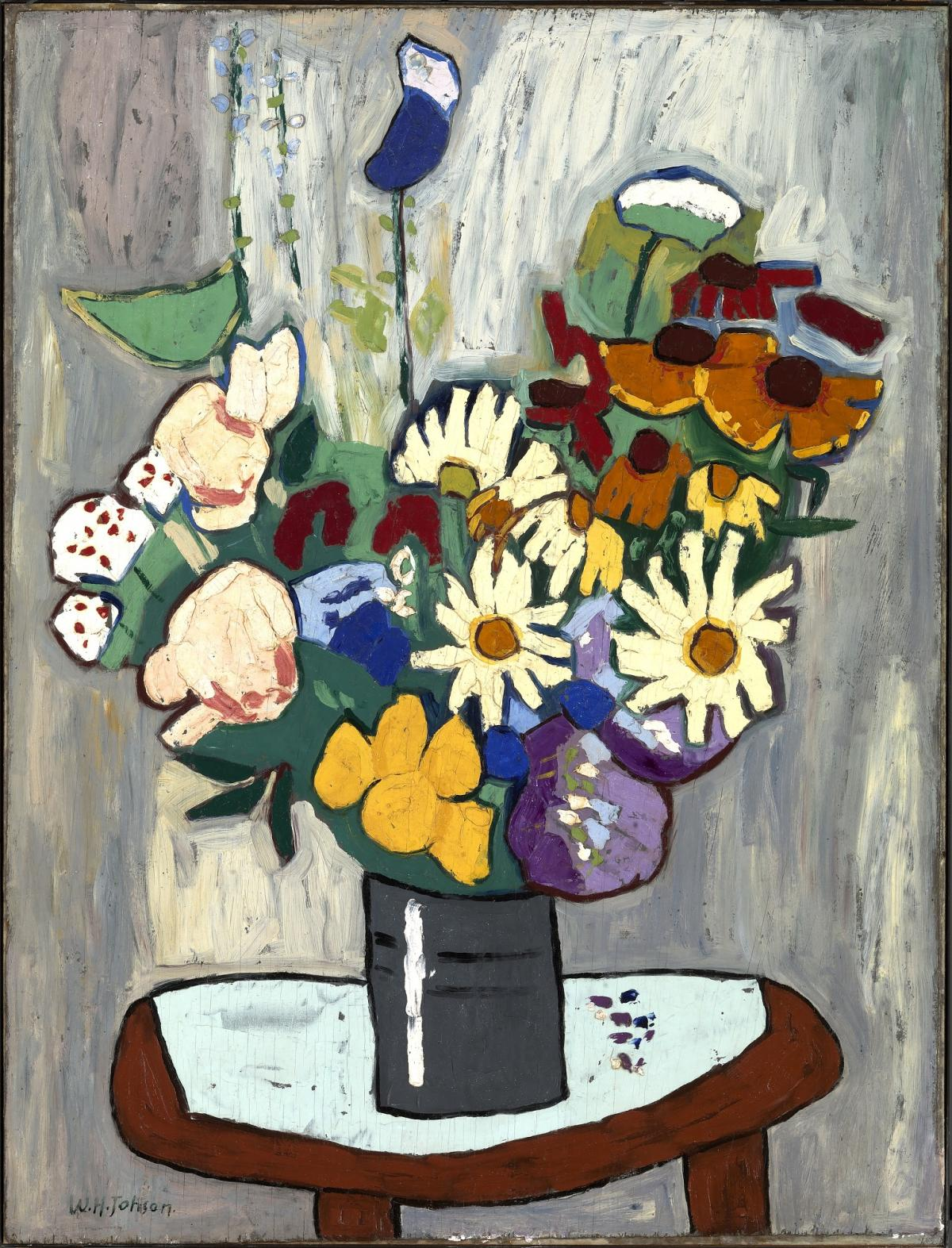 a painting of a bouquet of flowers