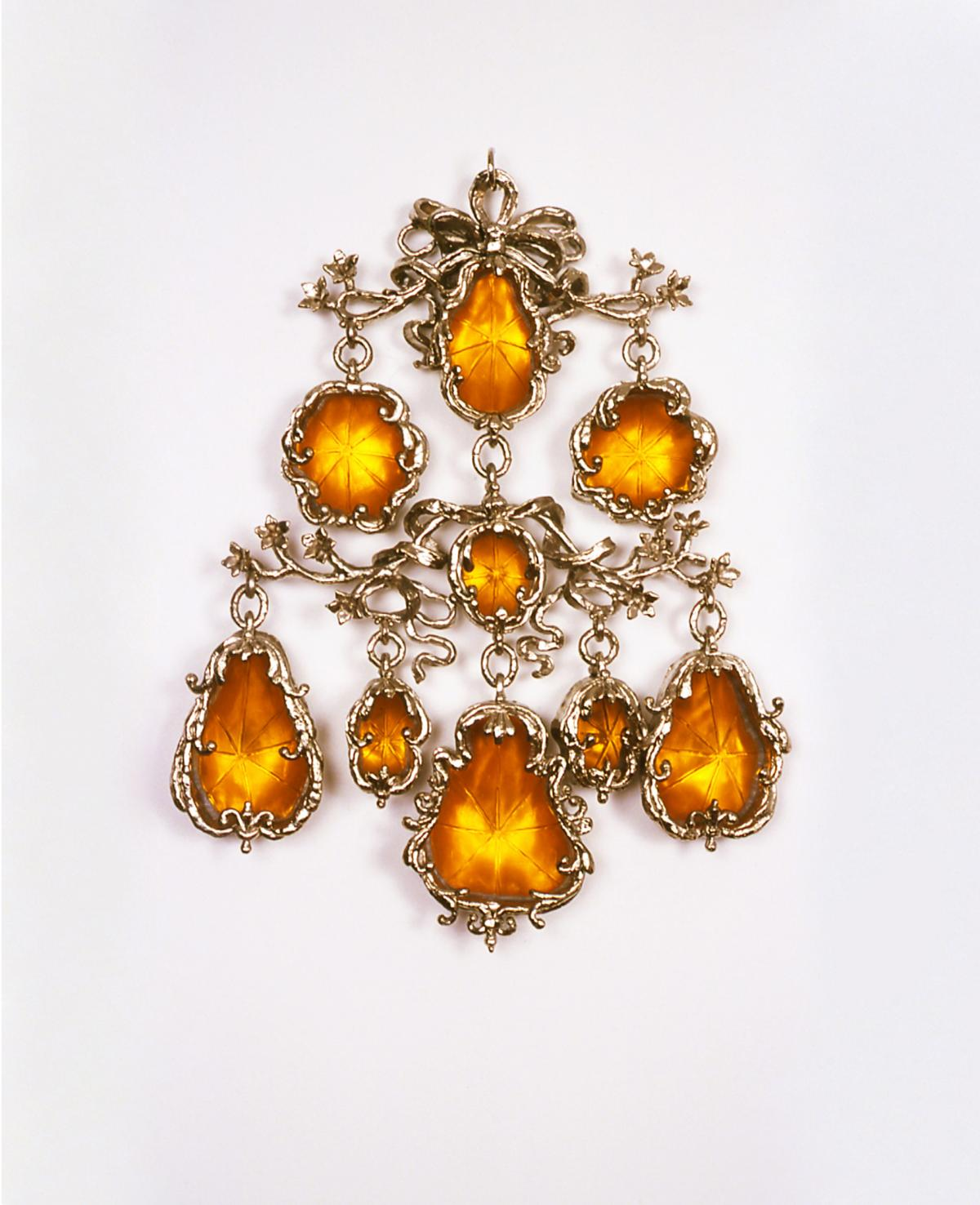 Large adornment with amber gems