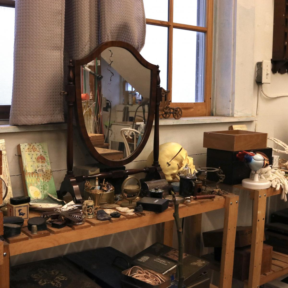 A mirror and objects the artist finds inspiring