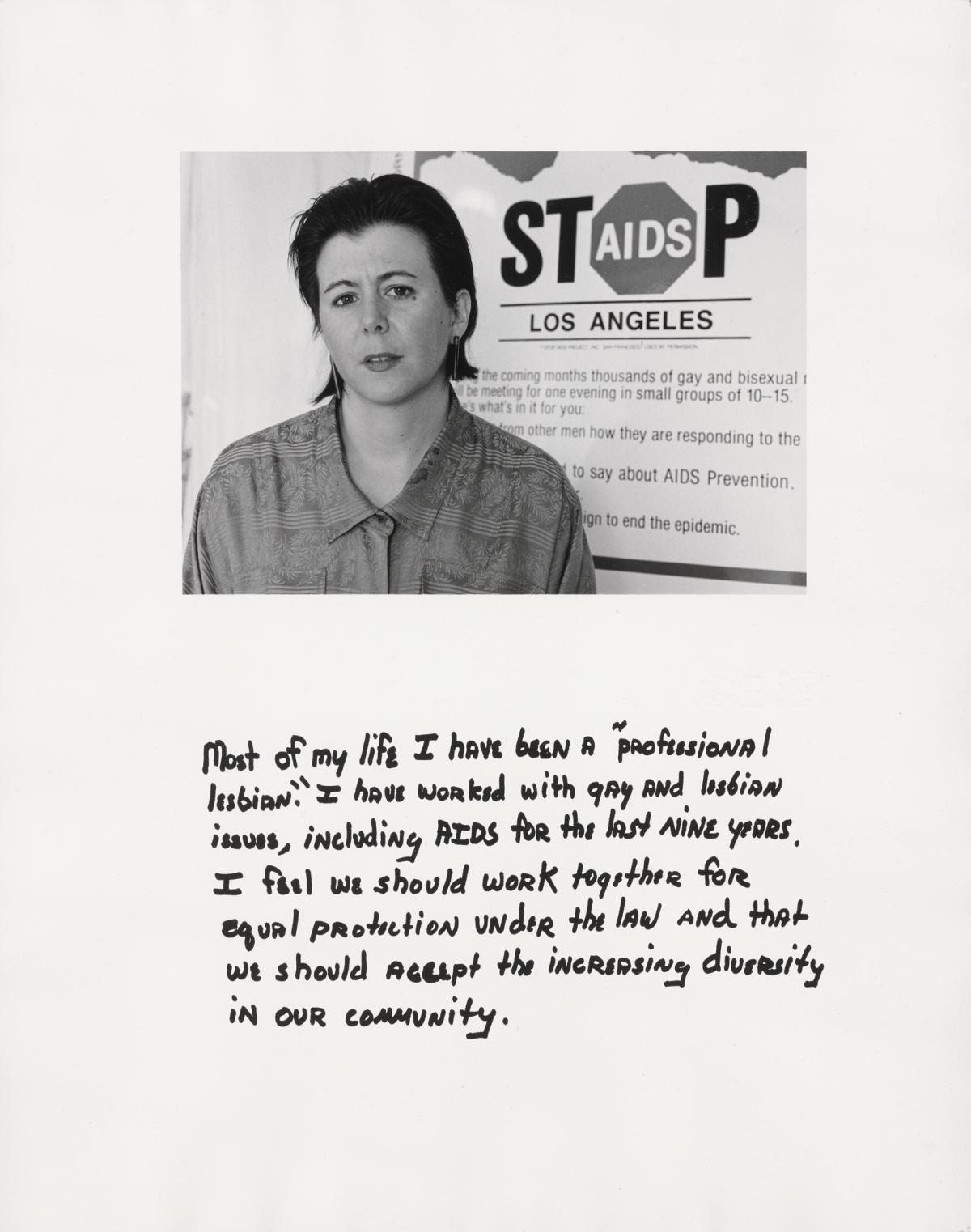 """A photograph of a short haired woman with the words """"Stop AIDS Los Angeles"""" behind her and text below her."""