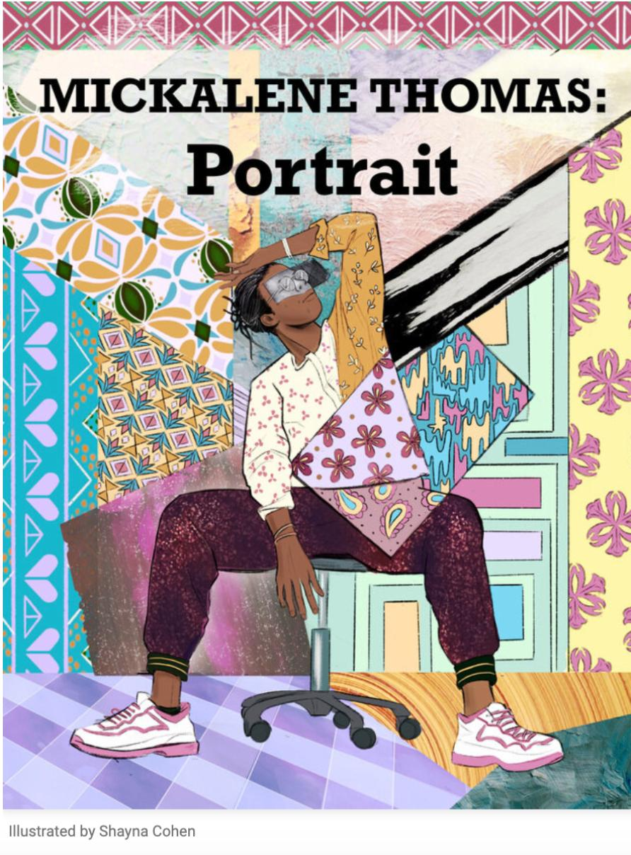 """Black woman sitting on a chair in the center of the cover with her hand resting on her forehead set against a patchwork background of colorful geometric and floral patterns. Text  reads, """"Mickalene Thomas: Portrait"""""""