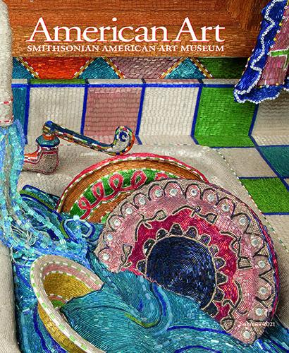 The cover of American Art shows a colorful mosaic-laden sculpture of dishes in a sink.
