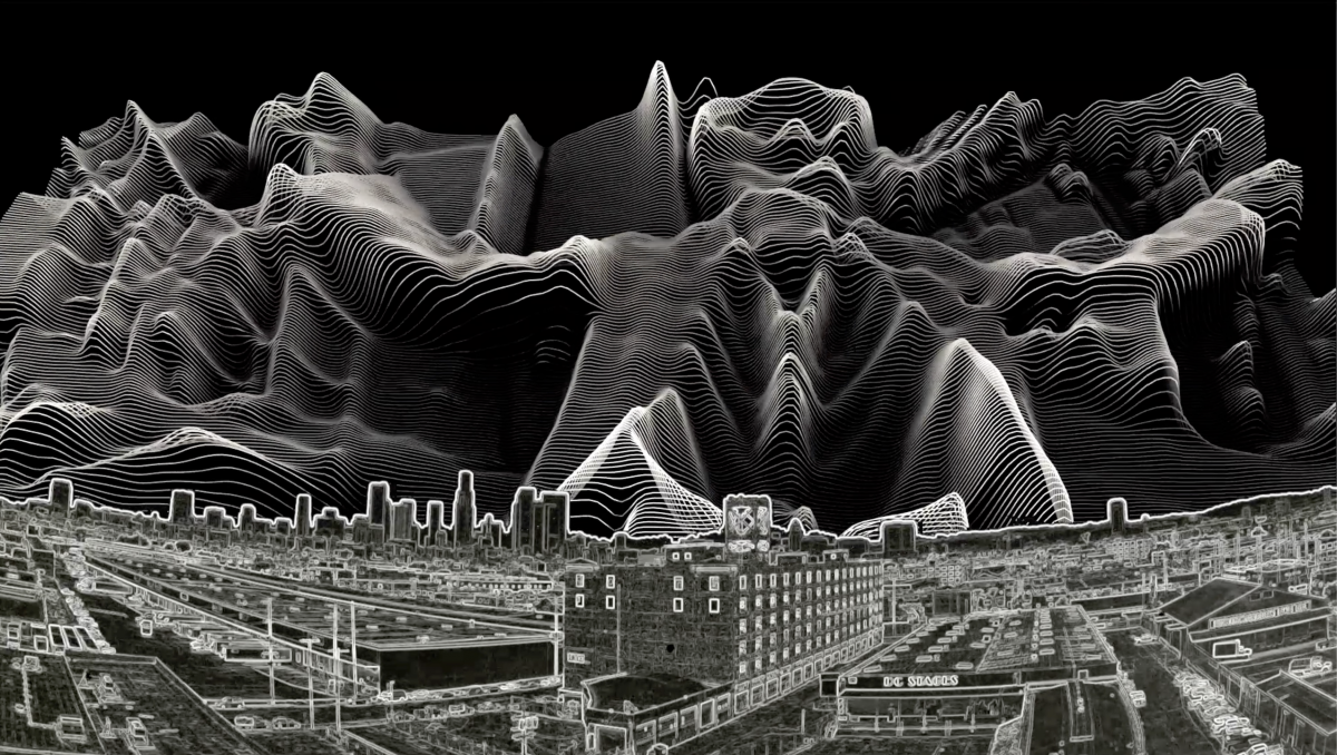 Black and white image of x-ray view of city