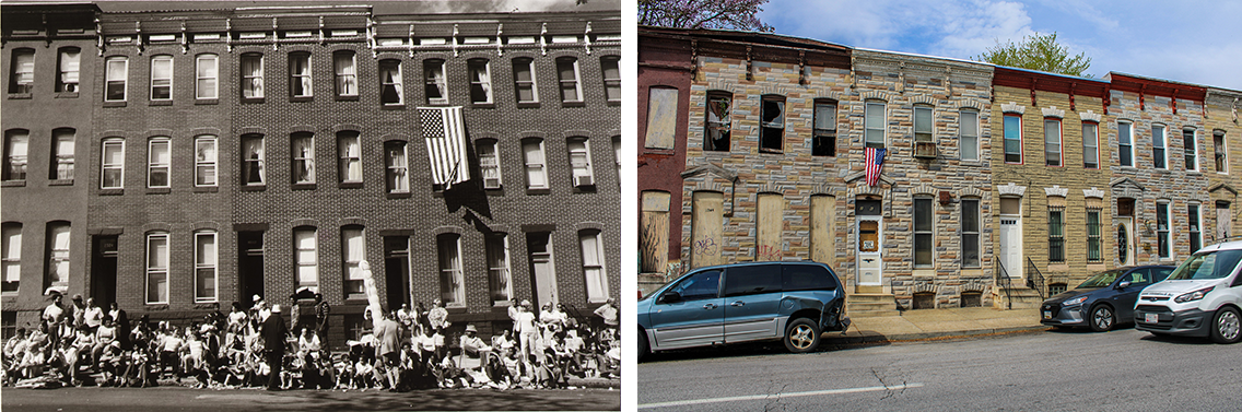 Two side by side photographs: the left is a black and white image of an apartment building facade. A crowd is gathered in front, watching a parade. A U.S. flag hangs out the window. On the right, the photo is in color and shows a different but similar looking apartment buidling with a U.S. flag hanging out a window.