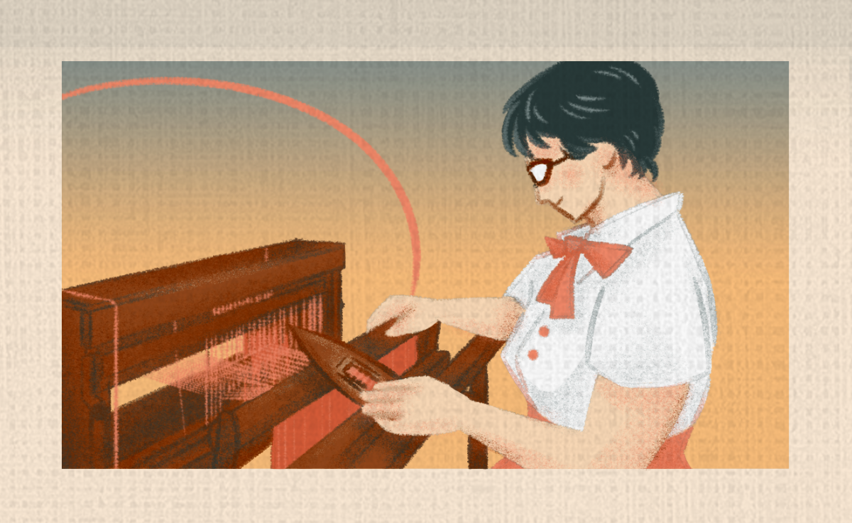 An illustration of a young woman with dark hair weaving holding a shuttle in her hand and is sitting a loom, weaving.