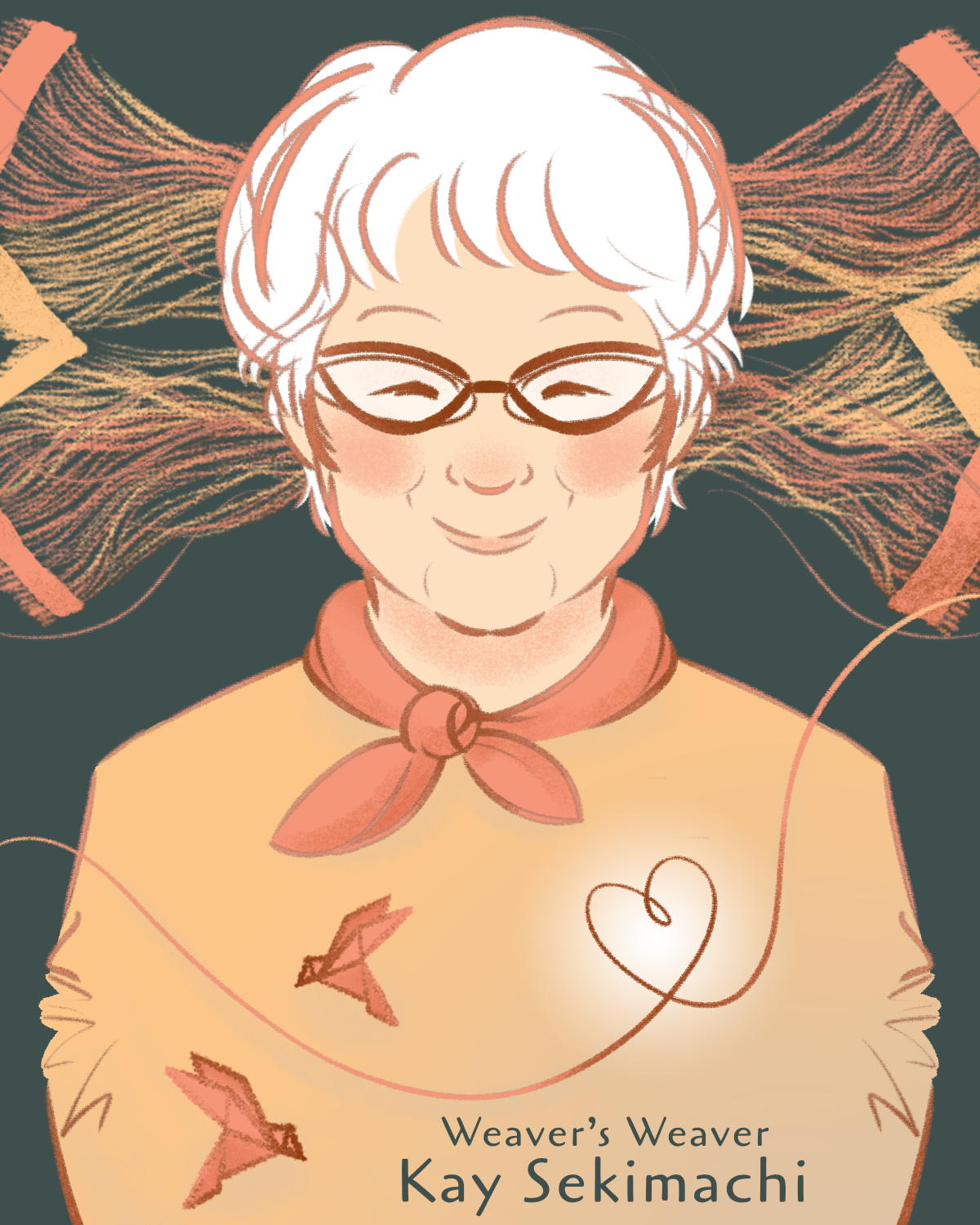 """The cover of a comic book with the title """"A Weaver's Weaver."""" It shows an older woman surrounded by thread. She has white hair and a slight smile."""