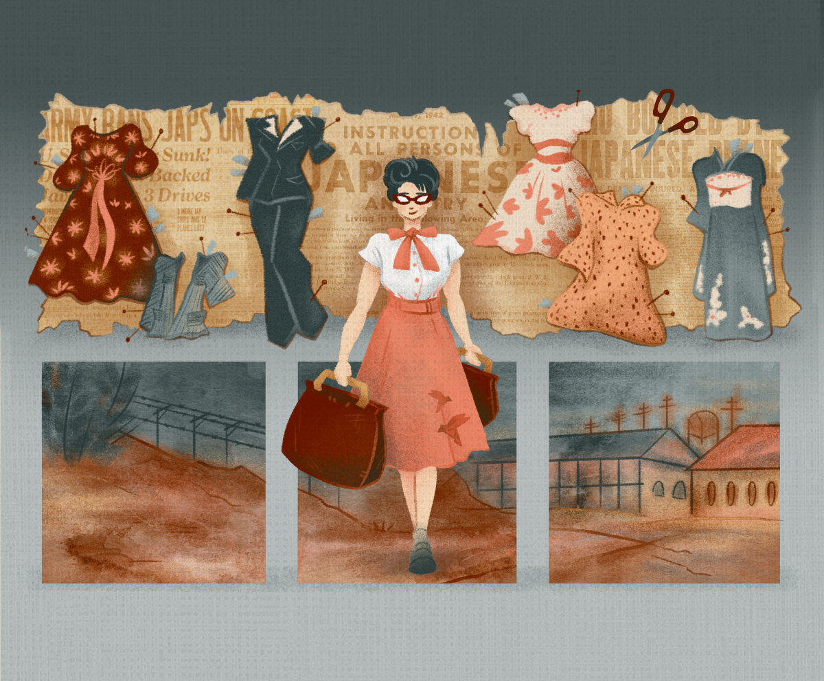An illustration of a young woman walking with a suitcase. There are images of paper doll clothes and incarceration camps behind her.