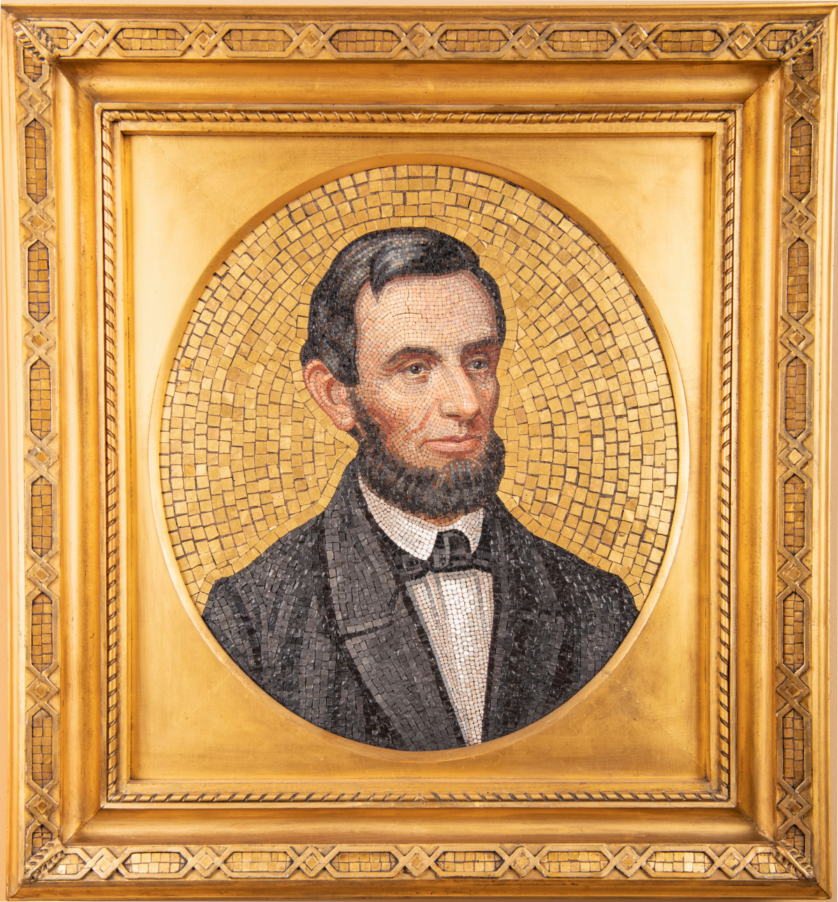 A portrait of Abraham Lincoln made from glass mosaic tiles.