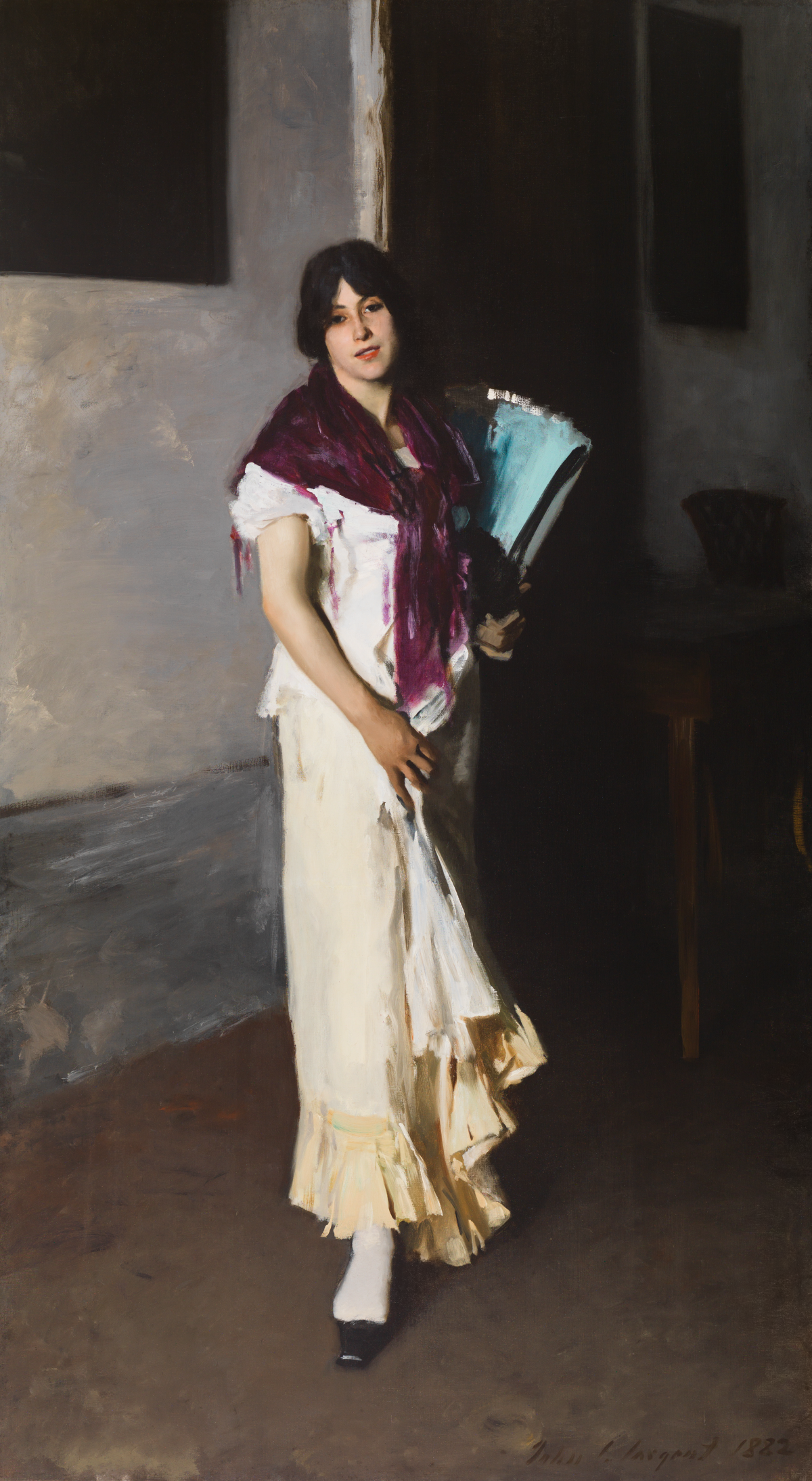 A painting of a young woman in a long white dress and a purple scarf.