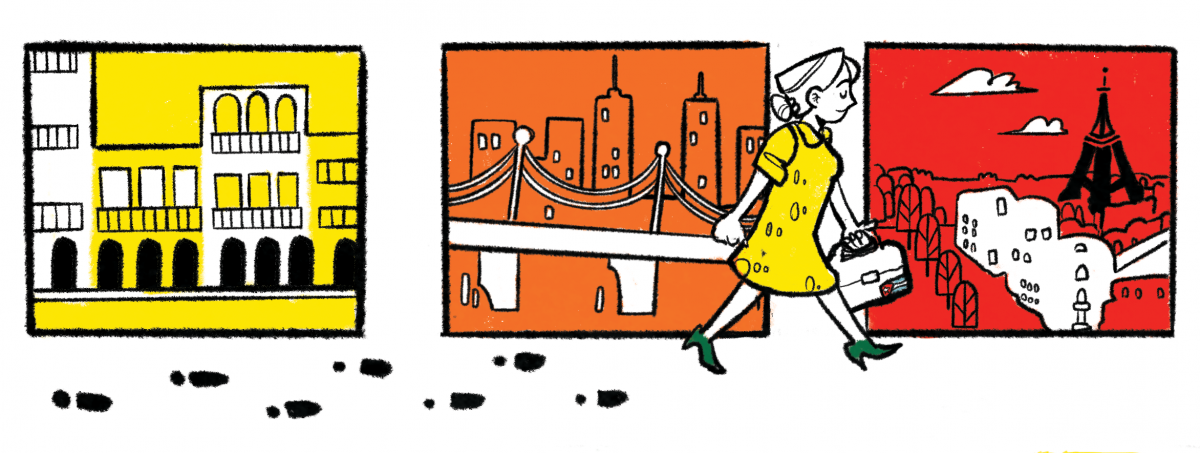 Three square illustration panels that show a woman walking across cities with her footprints trailing behind her.