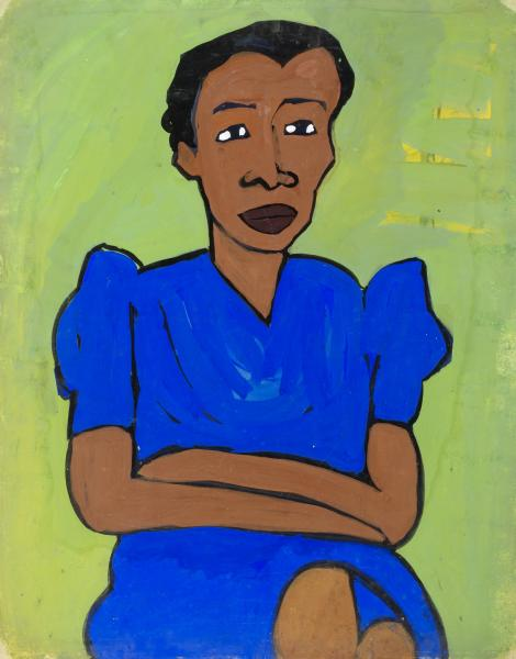 seated woman in blue dress with arms crossed smithsonian american