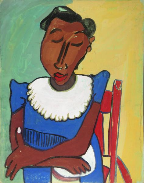 woman in blue dress with white collar in red chair smithsonian