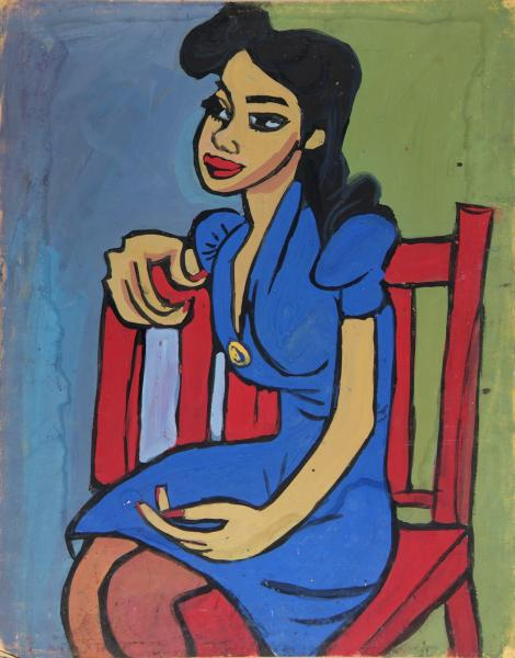 woman in blue dress in red chair smithsonian american art museum