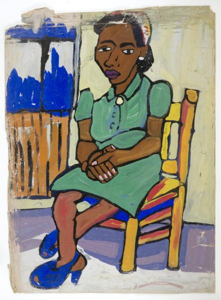 seated woman in green dress and blue shoes smithsonian american