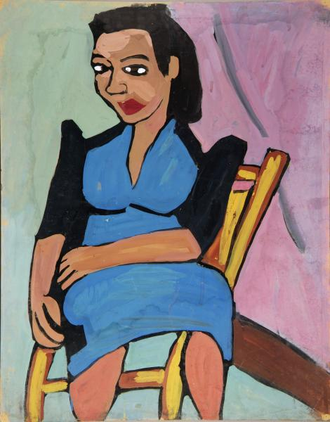 seated woman in blue and black dress smithsonian american art museum