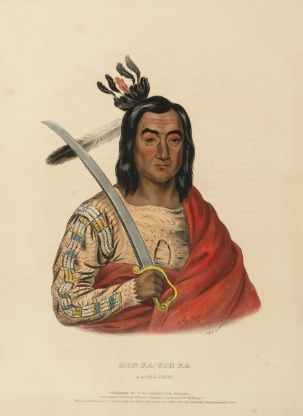 MON-KA-USH-KA  A SIOUX CHIEF , from History of the Indian