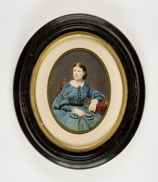 seated woman in blue dress with black trim smithsonian american