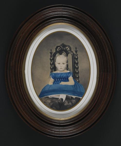 young child in blue dress with gathered bodice smithsonian