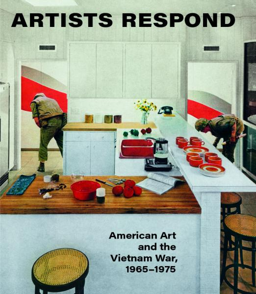 A picture of the book cover with painting of a kitchen with red utensils and an army man in the background.
