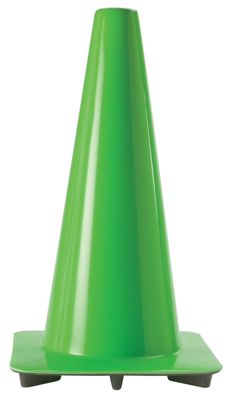Bright Green 18 Traffic Cones With Green Rubber Base