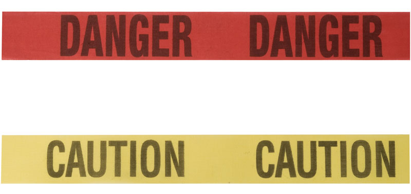 Red Danger Tape And Yellow Caution Barricade Tape