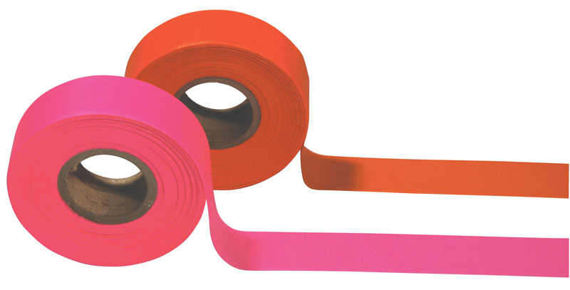 One Roll of Bright Pink Surveyors Tape and One Roll of Bright Orange Surveyors Tape