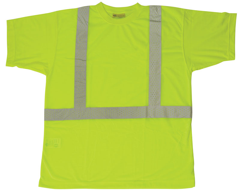 Bright Yellow Safety Shirts With Grey Reflective Stripes