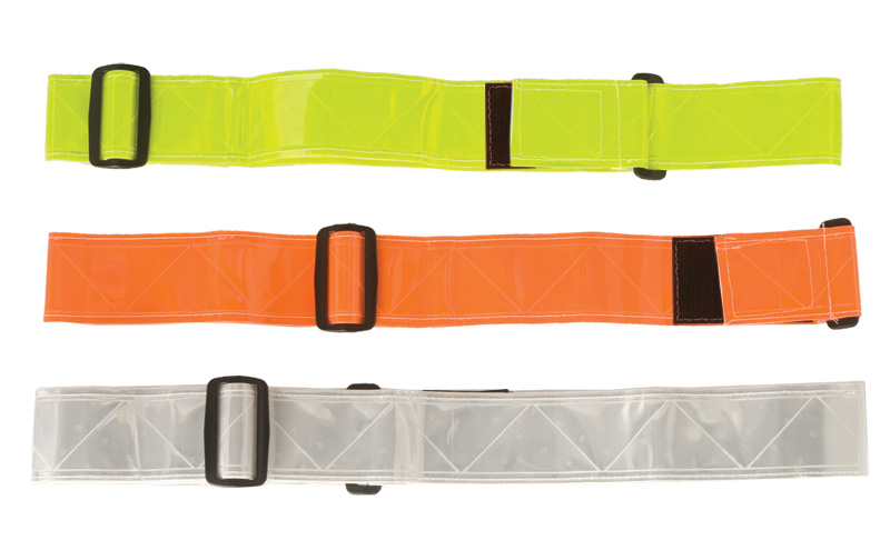 Three Fluorescent Reflective Belts In Yellow, Orange, and White For PPE Safety Gear